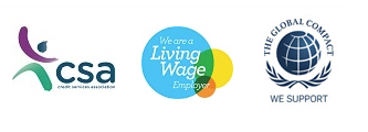 CSA, We are a Living Wage employer, We Support The Global Compact